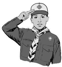 Have the Cub Scouts place their right hand over their hearts since they are not in uniform. Teach them the Cub Scout salute. As the Scout leader in uniform, you will do the Cub Scout salute.