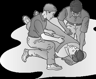 Step 3 Thrust your clasped hands inward and upward with enough force to pop loose the object that is blocking the airway. Repeat up to five times.