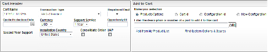 These fields are present for every cart and are divided into 2 sections such as Cart Header Add to Cart This section contains all the mandatory field selections such as the Transaction Type,