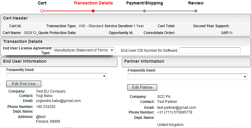 Transaction Details: This section contains details of the end user, partner and other order details.