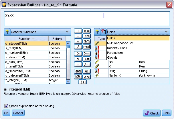 121 Building CLEM Expressions After you have selected a group of functions, double-click to insert the functions into the expression field at the point indicated by the position of the cursor.