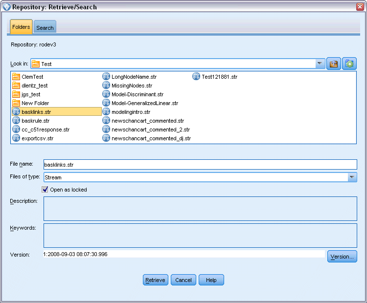 173 Using IBM SPSS Modeler with a Repository or File > Projects > Retrieve Project... or File > Outputs > Retrieve Output.