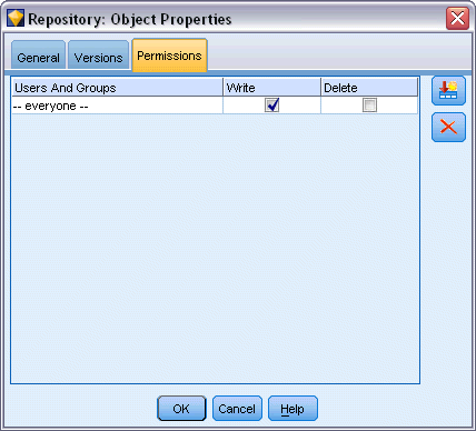 183 Using IBM SPSS Modeler with a Repository Figure 9-22 Object access rights Users And Groups. Lists the repository users and groups that have at least Read access to this object.