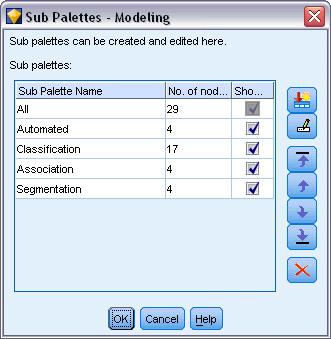 227 Customizing IBM SPSS Modeler Figure 12-9 Subpalettes available for the Modeling Palette tab To select subpalettes for display on a palette tab: E From the Tools menu, open the Palette Manager.