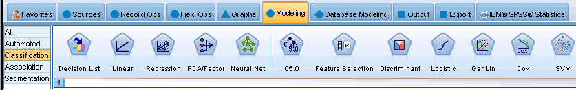 229 Customizing IBM SPSS Modeler To change the nodes shown on a palette tab, select the palette tab and then, from the menu on the left, select to display either all nodes, or just those in a
