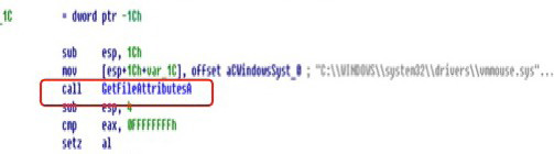 Figure 32 shows malware code that uses the GetFileAttributeA() function to check for a VMware mouse driver.