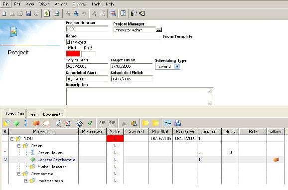 Program Management Items Create a Project, Project Form Once the initial data screen is filled out and saved, the Project Form is displayed.