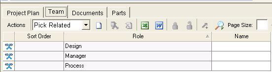 Program Management Items Create a Project, Team The second tab in the Project form is the Team tab. This tab is useful only if the Project is being created from a template.