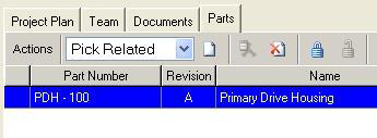 Program Management Items Create a Project, Parts The Parts tab of a project contains references to parts affected by this project.