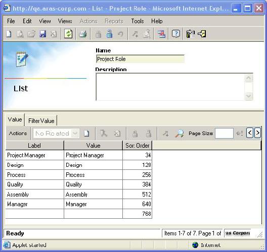Online Help: Program Management 8.1 2. Search for and open the Project Role list for edit. 3.