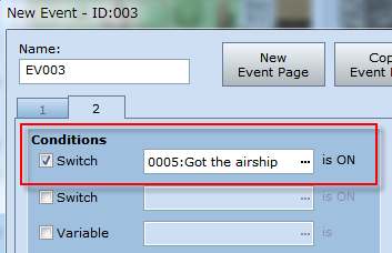 Click on the New Event Page button and create a new Event Page. *Setting the Event conditions. Now we ll set the conditions that need to occur before page 2 of this Event can execute.
