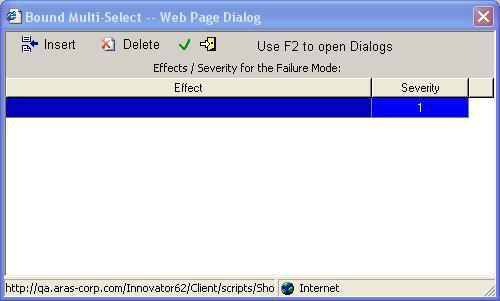 Online Help: Quality Planning The Effects sub-dialog The Effects sub-dialog allows you to select multiple entries to be placed into a single cell.