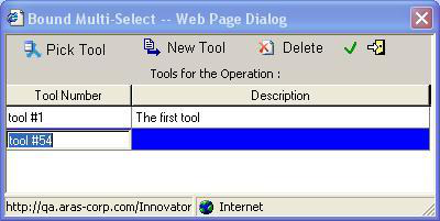 d. Green check mark - populates the Machine Tools cell with a list of machine tool numbers from the dialog above e. Exit - exits the dialog without making any changes to the originating cell f.