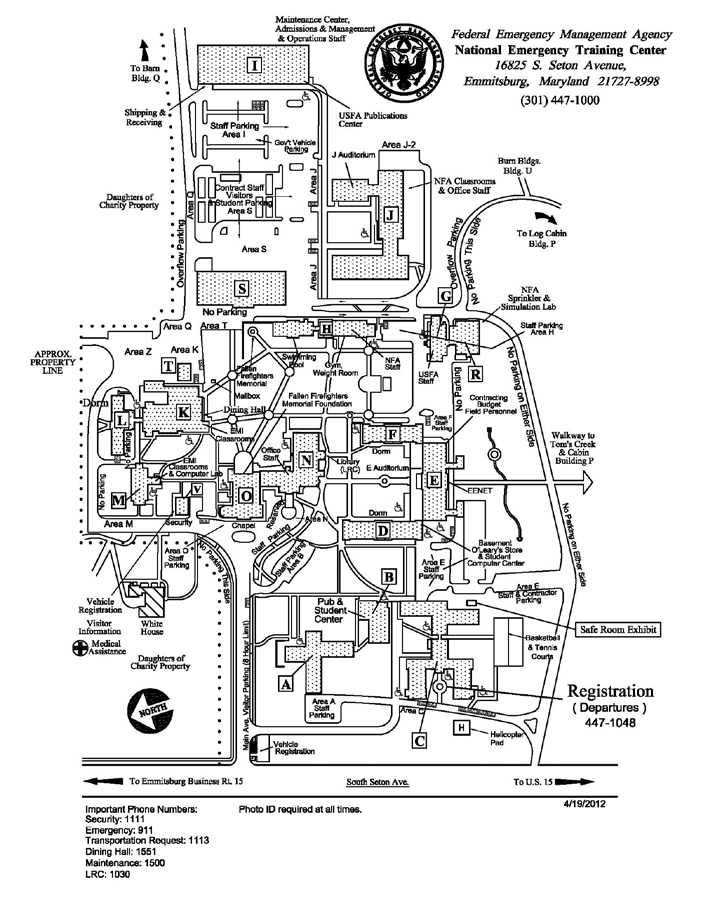 NATIONAL EMERGENCY TRAINING CENTER Map of Campus Emergency Management