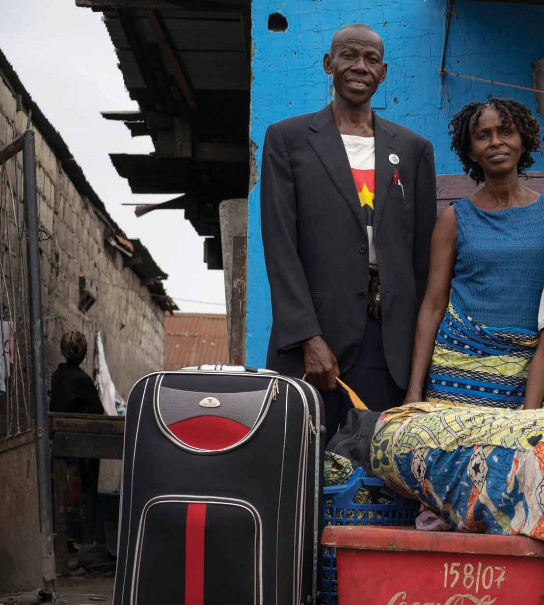 This family of former Angolan refugees pose for a portrait in Kinshasa, the Democratic Republic of the Congo, in August 2014, as they prepare to return to Angola.