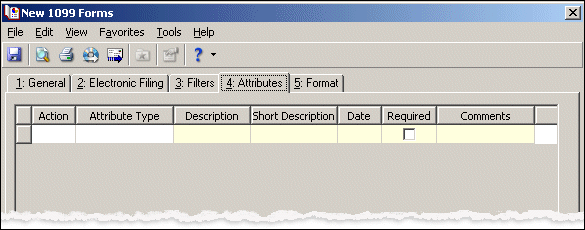 26 C HAPTER Attributes Tab You can use the Attributes tab to add, delete, or update attributes for the vendors whose 1099 forms you generate.