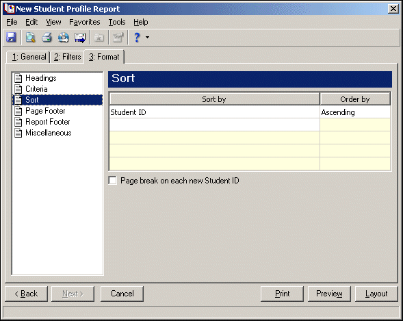 page. The program automatically selects all criteria to be printed. 20. To deselect any criteria from the list, unmark its checkbox.