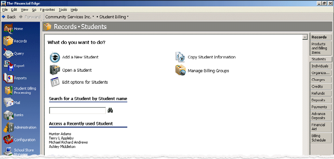 STUDENT BILLING END OF YEAR 57 Editing a student record 1. From the Records page in Student Billing, click Students. The Students page appears. 2.