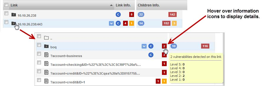 Drill down to see nested links This lets you explore the security of different