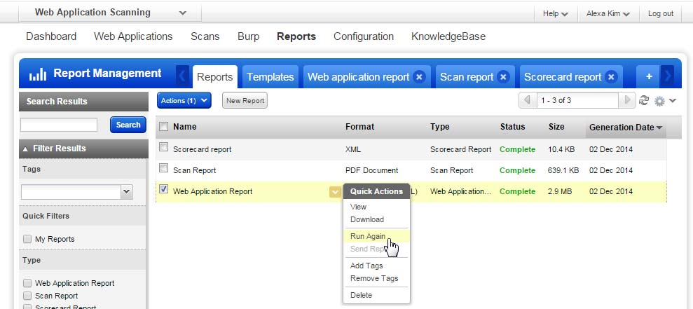 in your account. Your reports list is where you can view your saved reports.