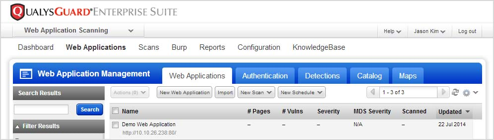 Your web application appears in the Web Applications tab, where you can edit the application settings or launch a scan on it. Why use authentication?