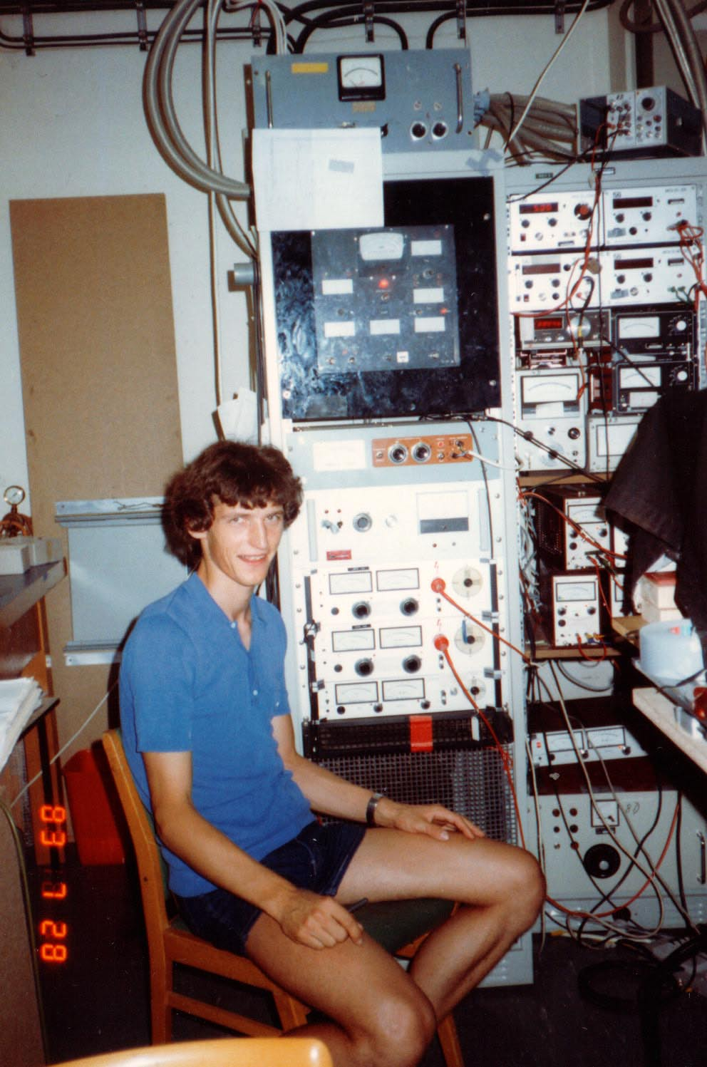 W.K. in July 1983, during the first year of his Ph.D. research. I am sitting in front of the racks controlling an ion beam of triatomic hydrogen. W.K. shortly after defending his Ph.D. thesis in May 1986.