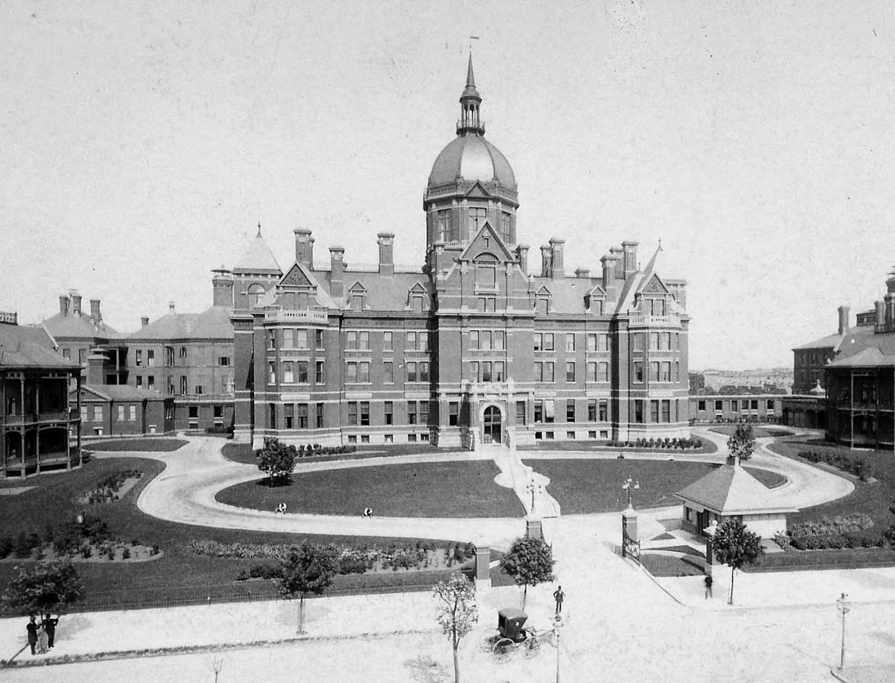 The Johns Hopkins Hospital, shown here at the time of its completion in 1889, was considered a municipal and national marvel when it opened.