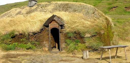 Ragi and his mother, Widow Alfdis, lived close to the seashore in a low, oblong stone cottage with a heather-thatched roof. Like all Viking houses, it had no windows.
