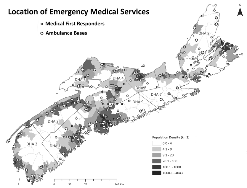 Figure 6: Nova Scotia map with population densities and locations of Medical First Responder (MFR) stations and EHS paramedic stations.