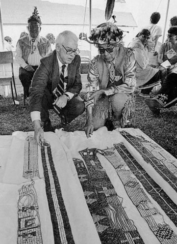 Wampum Among the Iroquois, wampum beads made from shells are woven into patterned strings or belts that record important events, ideas, contracts, pledges or treaties among nations.