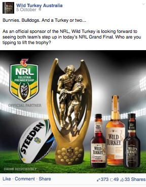 Post 4. Wild Turkey NRL Grand Final Post 5 depicts a Facebook image from Jim Beam, a brand associated with three NRL teams.