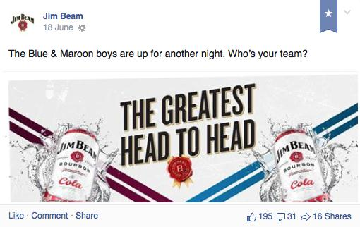 Post 5. Jim Beam and NRL State of Origin Post 6 and Post 7 depict another example from Jim Beam.