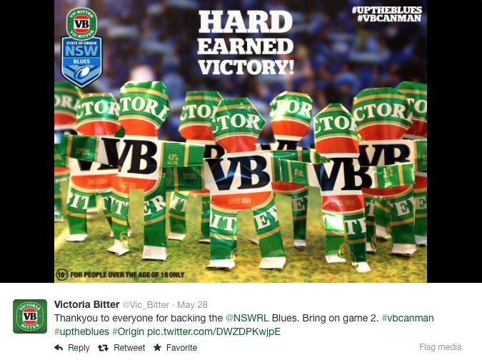 Victory! of the NSW Blues in State of Origin Game 1 in 2014.