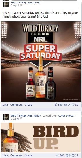 Post 20 shows a Wild Turkey Facebook post which suggests that the Super Saturday game isn t complete without a drink.