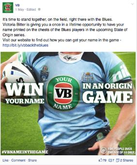 VB NRL State of Origin Name in the