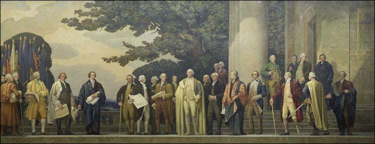 The Constitution Mural, Painted by: Barry Faulkner in 1936 From left to right: (Front Row) Edmund Randolph, Nathaniel Gorham, John Dickinson, John Rutledge, James Wilson, Oliver Ellsworth, Charles