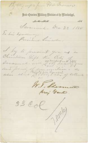Resource Sheet #01 General Sherman s Telegram to President Lincoln By Telegraph from Fort Monroe Head-Quarters Military Division of the Mississippi, Savannah Dec 22 1864 To his Excellency President