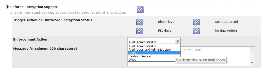 Best Practice #3: Enforce Encryption Apple s ios provides block-level encryption on all devices that are 3GS and higher.