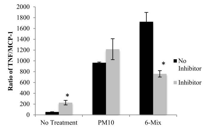 While acknowledging that there are many other factors that could influence T H responses, our data show that 6-Mix induced a much more T H 1 ratio than PM10, consistent with a more reduced