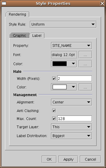 Label Settings Property - Lists all properties exposed by the data source (either WFS or local shapefile) where you select the one you want to use as the labeling property.