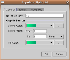 5. Set the General parameters on the Populate Style List dialog Nb of Classes - Defines the number of classes to be generated.