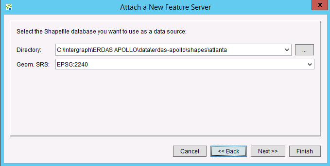 Adding a Collection of Shapefiles To add a collection of Shapefiles, select Shapefile Directory on the initial Attach a New Feature Server dialog.