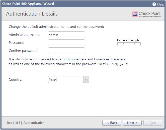 Configuring Check Point 600 Appliance Authentication Details In the Authentication Details page, enter these details necessary for logging in to the Check Point 600 Appliance WebUI application or if