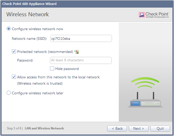 Configuring Check Point 600 Appliance Wireless Network (for Wireless Network Models) In the Wireless Network page, configure wireless connectivity details.