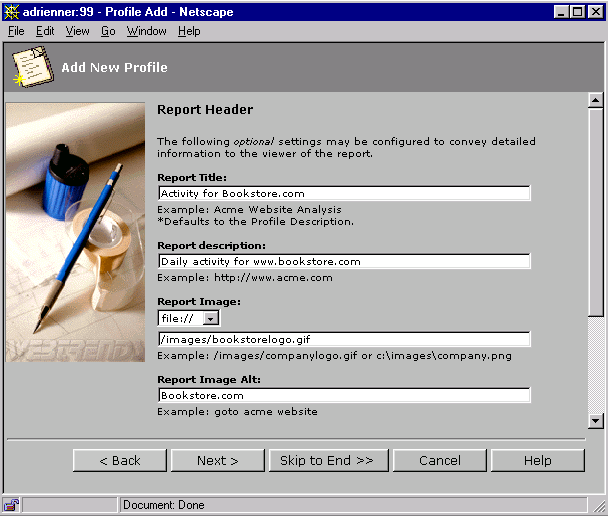 WebTrends Enterprise Reporting Server 2 Select the Report Header tab.
