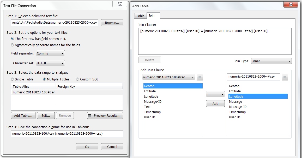 3.3 Tool Comparison this dialog. Tableau provides a second dialog to help the user join multiple tables by identifying the primary and foreign key fields. Inner, left and right joins are supported.