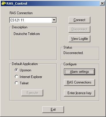 3.2.3.1 Using RAS Control RAS Control: main menu After starting RAS Control the main menu appears, making the different RAS Control functions available. 1.