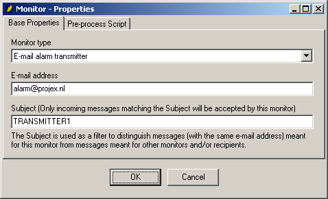Monitor properties Monitor type If the e-mail transmitter is another Messenger, please specify whether it is an old version (<= V2.5) or a new version (>= V3.