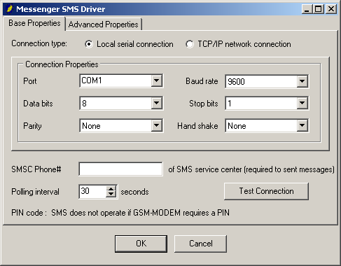 PM_SMS (exchange text messages through SMS) This driver can be used for exchange of text-based message with mobile phones/devices through.