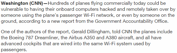 vulnerabilities The main plane computers and passenger internet area are physically networked Airplane Wi-Fi